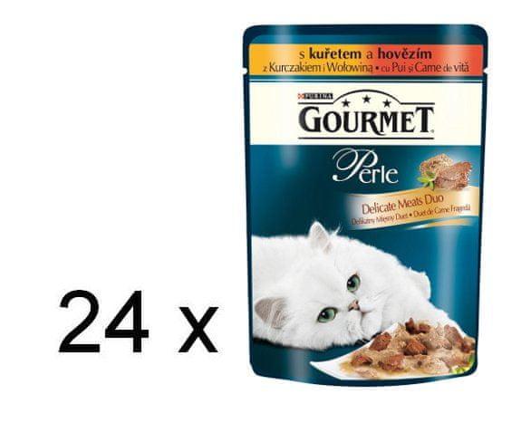 Gourmet Perle Duo s kuřecím a hovězím masem 24 x 8