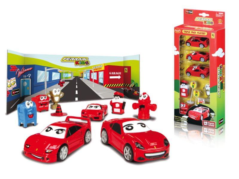 BBurago Ferrari Kids 3ks auta s doplňky v krabici
