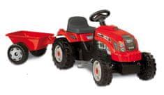 Smoby traktor Bull GM na pedala s prikolico, rdeč