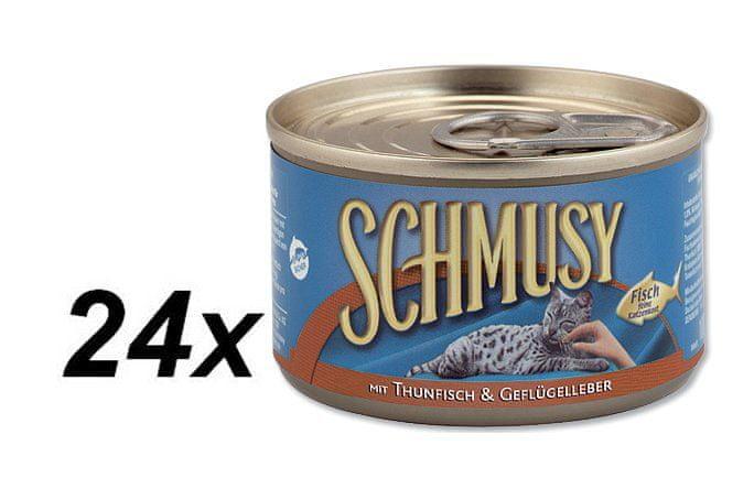 Schmusy Konzerva tuňák+drůb.játra 24 x 100g