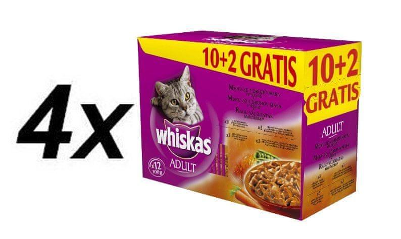 Whiskas Menu ze 4 druhů masa ve šťávě 4 x ( 12 x 1