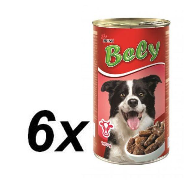 Akinu Bely kousky v omáčce s hovězím pro psy 6 x 1
