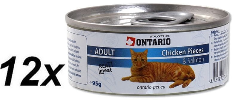 Ontario konzerva Cat Chicken Pieces + Salmon 12x95