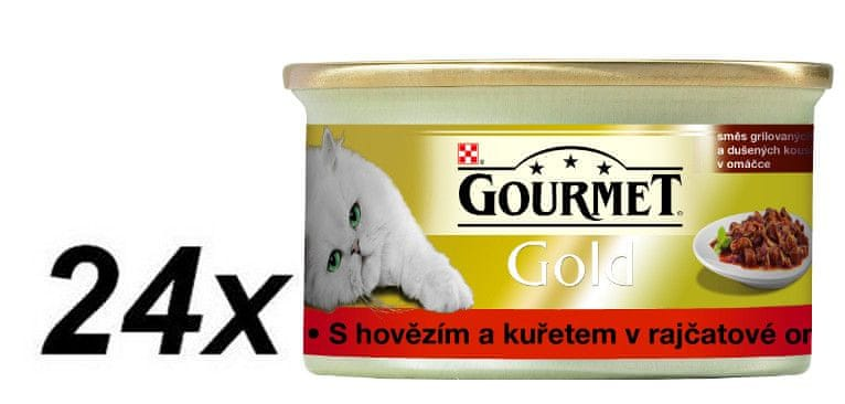 Gourmet Gold s hovězím masem a kuřetem v rajčatové
