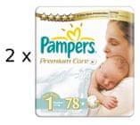 Pampers plienky PremiumCare 1 Newborn - 156 ks + Poukaz na zľavu 1 € na ďalší nákup balenia plienok Pampers nad 25 €.