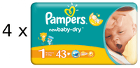 Pampers New Baby 1 Newborn - (4 x 43 szt) 172 szt!