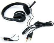 4World Sluchátka s mikrofonem a náušníky, drátěné 2,2 m, černá