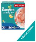 Pampers Active Baby MegaBox Plus 3 Midi - 186 ks + Poukaz na zľavu 1 € na ďalší nákup balenia plienok Pampers nad 25 €.