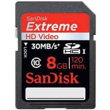 Sandisk SDHC 8GB (class 10/UHS-1) Extreme HD Video 30MB/s