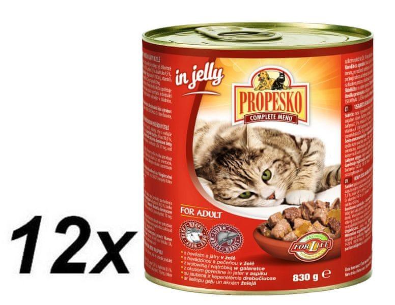 Propesko kousky kočka hovězí+játra v želé 12 x 830