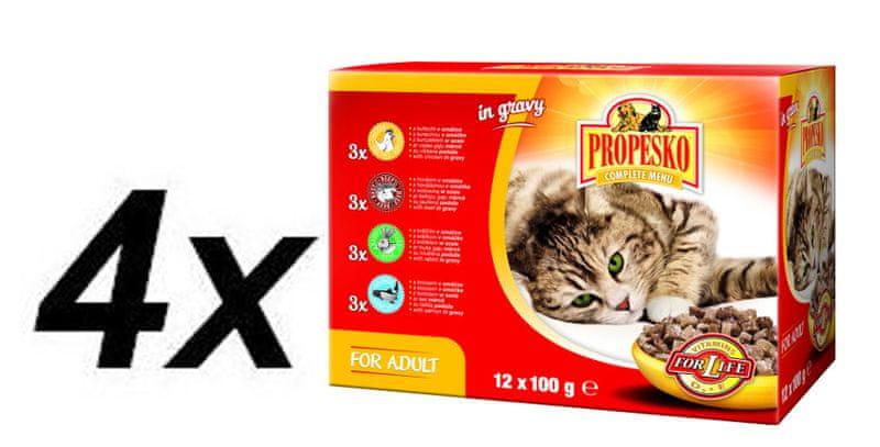 Propesko kapsa kočka kuře+hovězí+králík+losos 4x (