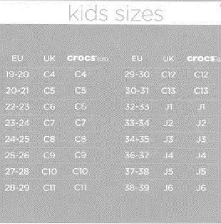 Tabela rozmiarów Crocs