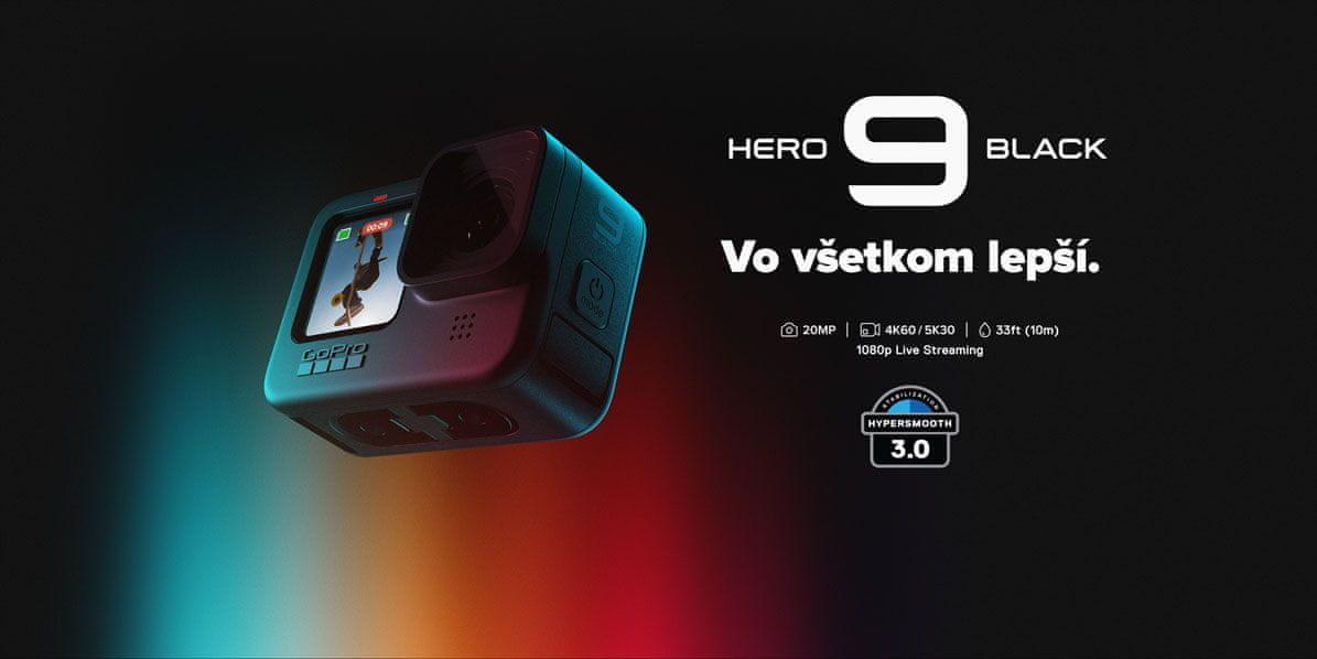 kamera go pro hero 9 black živé přenosy 1080p superphoto hdr ovládání hlasem do 10 m bez obalu voděodolná dotyková obrazovka 5k30 režim webkamery vyrovnávání horizontu hyper smooth 3.0 integrované uchycení