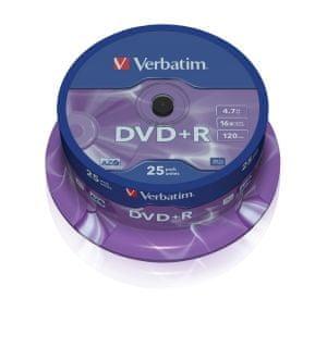 Verbatim DVD+R medij 4.7GB 16x (43500), 25 na osi