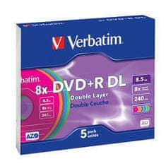 Verbatim DVD+R DL 8,5GB 8X COLOUR SLIM CASE 5pck/bal