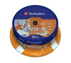 Verbatim DVD-R 4,7GB 16x PRINT. spindl 25pc/BAL