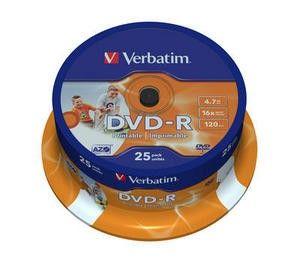 VERBATIM DVD-R 4,7GB 16x PRINT. spindl 25pc/BAL (457382)