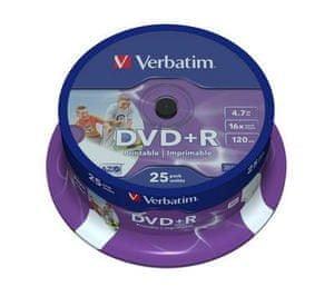 Verbatim DVD+R 4,7GB 16x PRINT. spindl 25pc/BAL