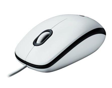 Logitech optična miška M100 USB, bela