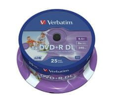 Verbatim DVD+R 8,5GB 8x DoubleLayer PRINTABLE spindl 25pck/BAL
