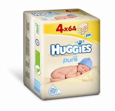 Huggies Pure Quatro Pack törlőkendő,  4 x 64 db