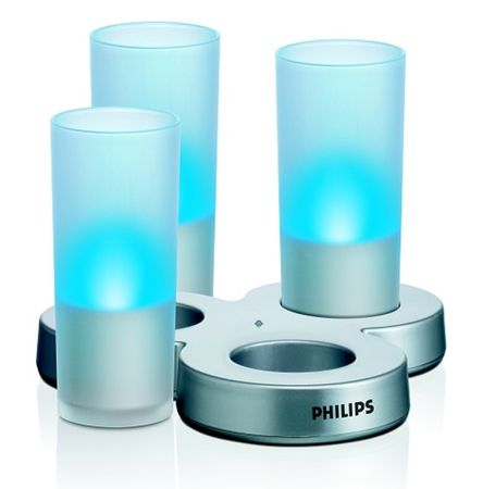 Philips Glass CandleLights modrá (69108/35/PH)