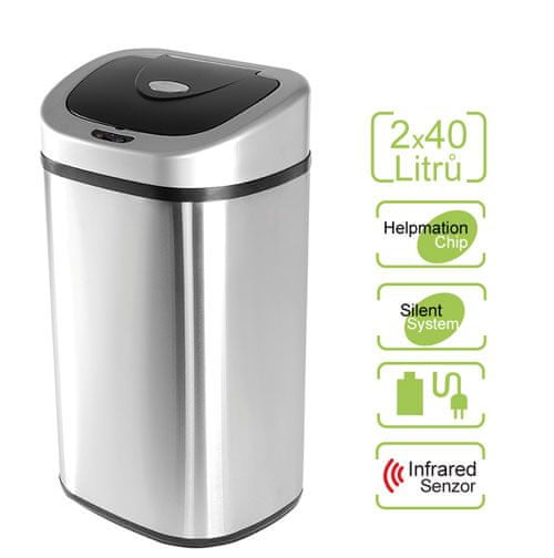 Helpmation Bezdotykový odpadkový koš na tříděný odpad 2x 40 l