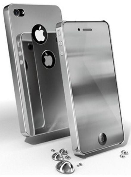 CellularLine chromové pouzdro + zrcadlová fólie, stříbrná - iPhone 4
