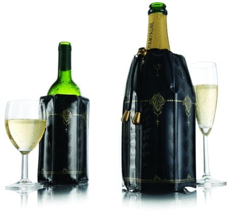 IIC Chladiaci obal na víno a šampanské - čiernozlatá (38873)