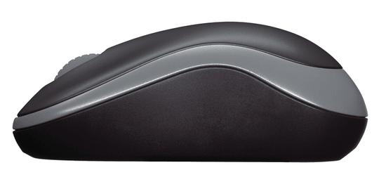 Logitech M185 brezžična miška, siva/črna