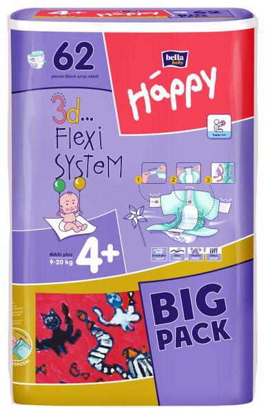 Bella Happy Maxi Plus Big Pack - 62 ks