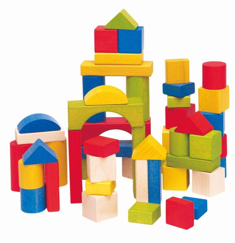 Woody Stavebnice kostky barevné v kartonu 50 dílů