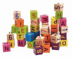 Woody Kolorowe drewniane klocki z literami i cyframi, 40 sztuk