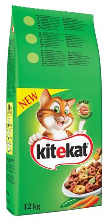 Kitekat suha hrana za odrasle mačke, govedina z zelenjavo, 12 kg