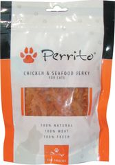PERRITO przysmak dla kota Chicken and Seafood Jerky for Cats - 10 x 100g