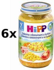 HiPP Zelenina s těstovinami a šunkou - 6x220g