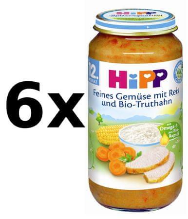 HiPP BIO Zelenina s rýží a krůtím masem - 6x250g