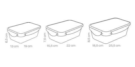 Tescoma 3 - delni set pravokotnih posod Freshbox