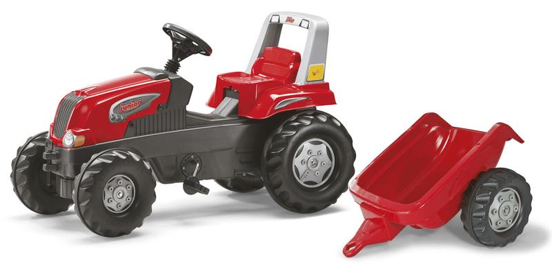 Rolly Toys Šlapací traktor Rolly Juniors vlečkou červený