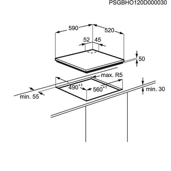 Electrolux plinska kuhalna plošča EGE6182NOK