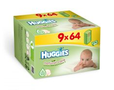 Huggies vlažni robčki Natural Care Nine Pack, 9 x 64 kos