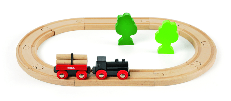 Brio Malá vláčkodráha s vláčkem a vagónkem s kládami