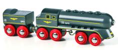 Brio Czarna lokomotywa parowa z zapasem węgla 33697