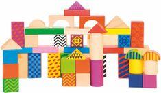 Woody Stavebnica kocky farebné, s potlačou, 50 dielov