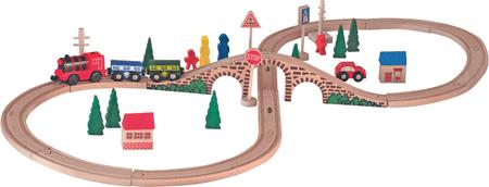 Woody lesena železnica z vlakom
