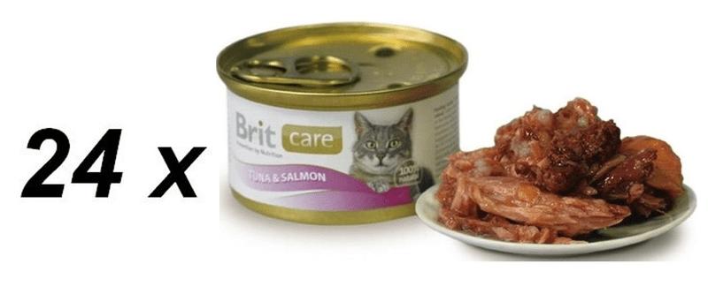 Brit Care Cat konzerva tuňák & losos 24 x 80g