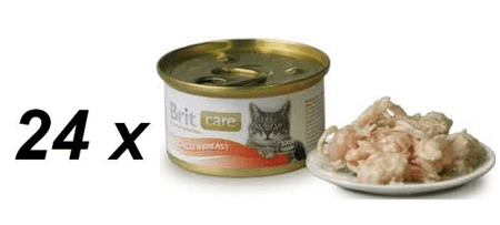 Brit mokra mačja hrana Care, piščančje prsi, 24 x 80 g