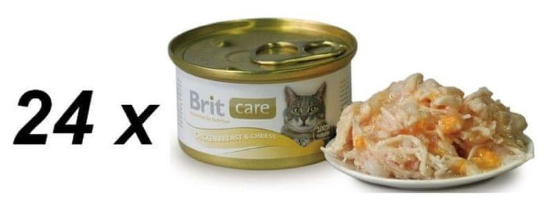 Brit Care Cat konzerva kuřecí prsa & sýr 24 x 80g
