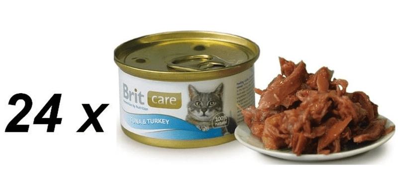 Brit Care Cat konzerva tuňák & krocan 24 x 80g