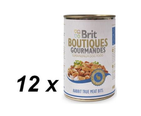 Brit mokra karma dla psa Boutiques Gourmandes Rabbit True Meat Bits - 12 x 400g